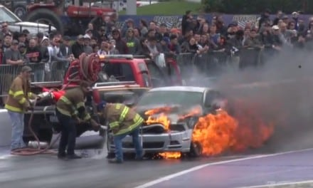 Ford Mustang goes up in Flames