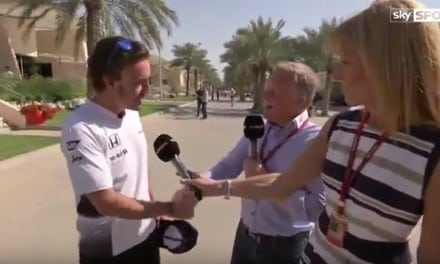 Johnny Herbert confronts Fernando Alonso