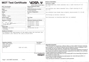 MOT Certificate - JGU 213K - Exp 05-02-16