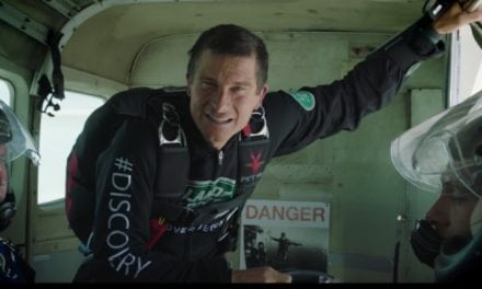 Bear Grylls former Free Car Mag Cover Star Skydives to test Land Rover's Intelligent Seat Fold Technology