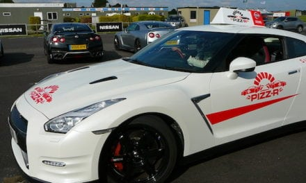 Nissan GT-R Pizz-R delivery vehicle does Donuts and nearly swipes snapper
