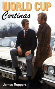 (L-R) West Ham United and England teammates Geoff Hurst and Bobby Moore admire the ranks of Ford Cortinas