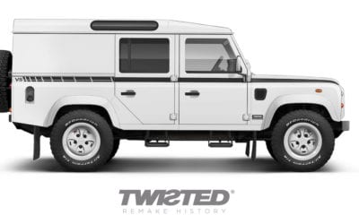 Twisted Land Rovers in Geneva